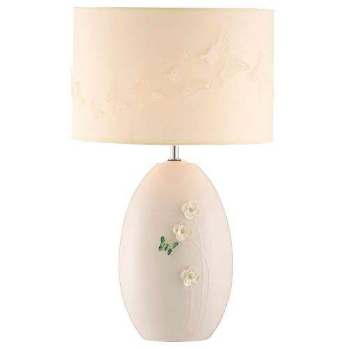 Belleek Living Jade Butterfly Meadow Lamp & Shade